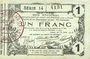 Banknoten Aisne, Ardennes et Marne - Bon régional. Laon. Billet. 1 franc 16.6.1916, série 14