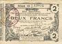 Banknoten Aisne, Ardennes et Marne - Bon régional. Laon. Billet. 2 francs 16.6.1916, série 10