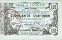Banknoten Aisne, Ardennes et Marne - Bon régional. Laon. Billet. 50 cmes 16.6.1916, série 13