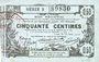 Banknoten Aisne, Ardennes et Marne - Bon régional. Laon. Billet. 50 cmes 16.6.1916, série 3