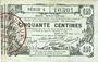 Banknoten Aisne, Ardennes et Marne - Bon régional. Laon. Billet. 50 cmes 16.6.1916, série 4