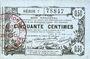 Banknoten Aisne, Ardennes et Marne - Bon régional. Laon. Billet. 50 cmes 16.6.1916, série 7