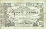 Banknoten Aisne, Ardennes et Marne - Bon régional. Laon. Billet. 50 cmes 16.6.1916, série 8