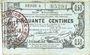Banknoten Aisne, Ardennes et Marne - Bon régional. Laon. Billet. 50 cmes 16.6.1916, série 9