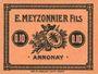 Banknoten Annonay (07). E. Meyzonnier Fils. Billet. 10 cmes