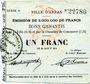 Banknoten Arras (62). Ville. Billet. 1 franc 29.8.1914, série A
