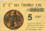 Banknoten Ax (09). Cie Gle des Thermes d'Ax. Billet. 5 cmes 1918