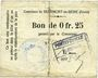 Banknoten Beaumont-en-Beine (02). Commune. Billet. 25 cmes n. d.
