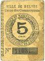 Banknoten Belvès (24). Ville. Union des commerçants. Billet. 5 cmes