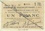 Banknoten Biache-Saint-Waast (62). Commune. Billet. 1 franc 5.1.1915, série B, n° rectifié à la main