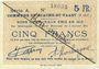 Banknoten Biache-Saint-Waast (62). Commune. Billet. 5 francs 5.1.1915, série A, annulation manuelle