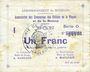 Banknoten Braux (08). Arrondissement de Mézières. Billet. 1 franc, série O, 18.11.1914 et 19.1 et 25.3.1915