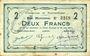Banknoten Buironfosse (02). Commune. Billet. 2 francs 25.8.1915