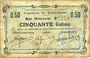 Banknoten Buironfosse (02). Commune. Billet. 50 cmes 25.8.1915