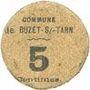 Banknoten Buzet-sur-Tarn (31). Commune. Billet. 5 centimes