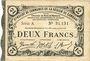 Banknoten Cambrai (59). Syndicat de Communes de la Région de Cambrai. Billet. 2 francs 10.5.1916, série A
