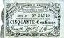 Banknoten Cambrai (59). Syndicat de Communes de la Région de Cambrai. Billet. 50 cmes 10.5.1916, série D