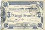 Banknoten Cambrai (59). Ville. Billet. 20 francs 30.10.1914, 2e série : 2 mm, Cachet d'annulation rouge au dos