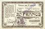 Banknoten Carvin (62). Ville. Billet. 20 francs 15.1.1915, série C, spécimen sans numérotation