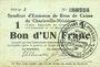 Banknoten Charleville et Mézières (08). Syndicat d'Emission de  Bons de Caisse. 1 franc 11.3.1916, série J