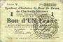 Banknoten Charleville et Mézières (08). Syndicat d'Emission de  Bons de Caisse. 1 franc 11.3.1916, série V