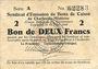 Banknoten Charleville et Mézières (08). Syndicat d'Emission de  Bons de Caisse. 2 francs 11.3.1916, série A