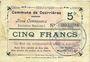 Banknoten Courrières (62). Commune. Billet. 5 francs, émission mars 1915