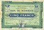 Banknoten Croix et Wasquehal (59). Villes. Billet. 5 francs 10.11.1914, série 6055