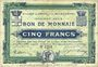 Banknoten Croix et Wasquehal (59). Villes. Billet. 5 francs, série 6250, en noir