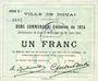 Banknoten Douai (59). Ville. Billet. 1 franc 30.8.1914, série B1