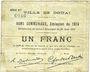 Banknoten Douai (59). Ville. Billet. 1 franc 30.8.1914, série B2
