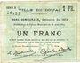 Banknoten Douai (59). Ville. Billet. 1 franc 30.8.1914, série B5