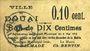 Banknoten Douai (59). Ville. Billet. 10 centimes 6.5.1915, papier chamois