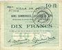 Banknoten Douai (59). Ville. Billet. 10 francs 30.8.1914, série E6