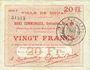 Banknoten Douai (59). Ville. Billet. 20 francs 30.8.1914, série F5