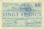 Banknoten Douai (59). Ville. Billet. 20 francs 30.8 et 15.10.1914, nlle série, F