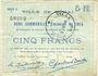 Banknoten Douai (59). Ville. Billet. 5 francs 30.8.1914, série D6