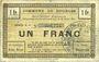 Banknoten Dourges (62). Commune. Billet. 1 franc 18.7.1915, série E4