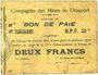 Banknoten Drocourt (62). Compagnie des Mines. Billet. 2 francs, série B