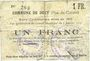 Banknoten Dury (62). Commune. Billet. 1 franc 5.1.1915 (imprimerie Paul Dutilleux à Roubaix). Inédit !