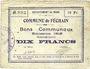 Banknoten Féchain (59). Commune. Billet. 10 francs, émission 1915