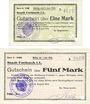 Banknoten Forbach (57). Ville. Billets. 1 mark, 5 mark 19.8.1914, série A, réimpressions