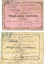 Banknoten Fourmies (59). Ville. Billets. 25 centimes (2 ex) 6.10.1914