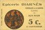 Banknoten Grenade-sur-l'Adour (40). Epicerie Biarnès. Billet. 5 centimes