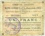 Banknoten Harnes (62). Commune. Billet. 1 franc 20.2.1915, série D