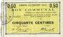 Banknoten Haynecourt (59). Commune. Billet. 50 centimes 29.8.1915