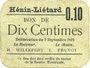 Banknoten Hénin-Liétard (62). Ville. Billet. 10 centimes 7.9.1915, carton gris
