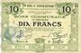 Banknoten Hénin-Liétard (62). Ville. Billet. 10 francs 6.3.1916, série A, annulation par perforation