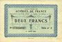 Banknoten Isbergues (62). Société Anonyme des Aciéries de France. Billet. 2 francs 1.1.1920, série 2