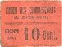 Banknoten Jegun (32). Union des Commerçants. Billet. 10 centimes